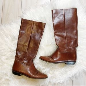 Nine West Leather Brown Calf Boots Size 7 1/2